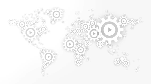 world map animation of gears cog wheels with a play icon on black perforated plate background - business symbols stock videos & royalty-free footage
