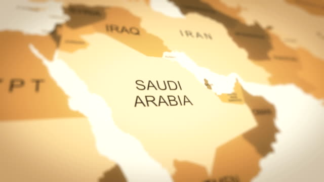 4k world map animation (saudi arabia) - aerial map stock videos & royalty-free footage