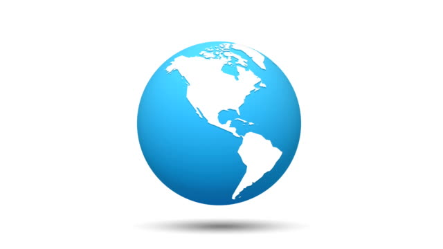 world map blue white globe loop animation - glass world video stock e b–roll