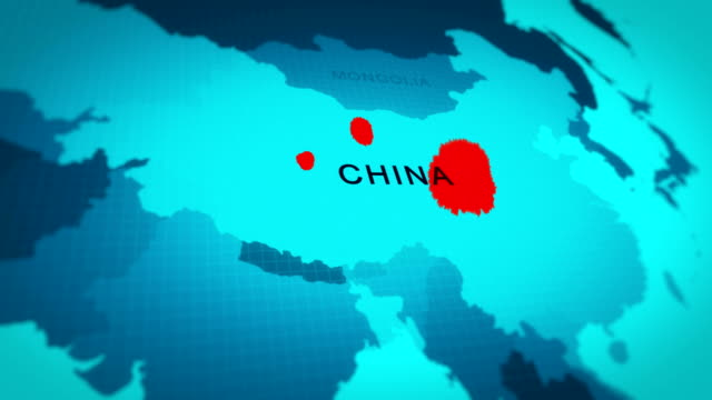 vidéos et rushes de world map china continent - zone géographique, animation 4k, covis-19 (coronavirus) - chine