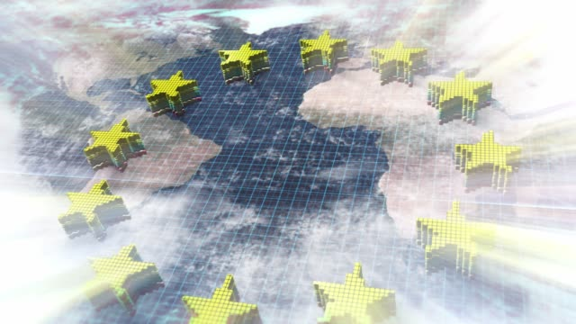 World map combined with 12 yellow stars of EU flag World map combined with 12 yellow stars of EU flag country geographic area stock videos & royalty-free footage
