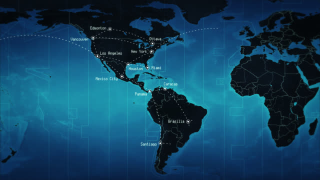 World map connections and cities. Blue. Loopable. video