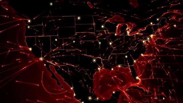 stockvideo's en b-roll-footage met wereld kaart verbindingen. noord-amerika-europa. rood. - roadmap