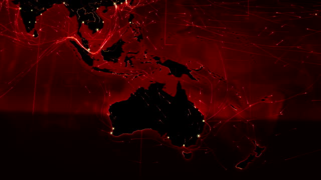 World map connections. Oceania- Asia. Red. video