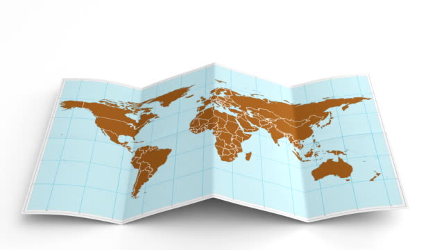 world map folds out on white. three in one. - world map stock videos & royalty-free footage