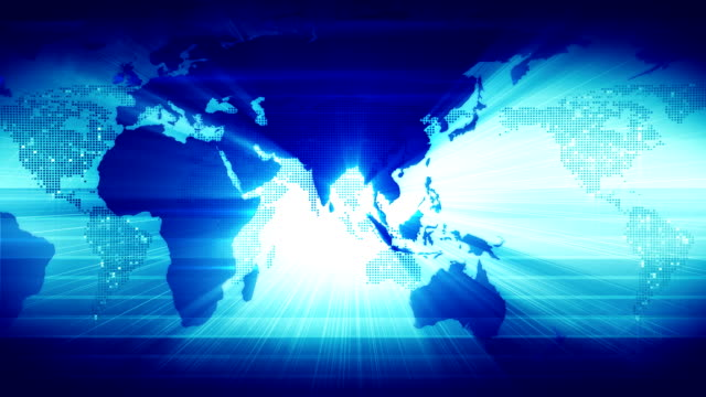 World Map. In Blue video