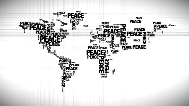 World map made out of peace words video