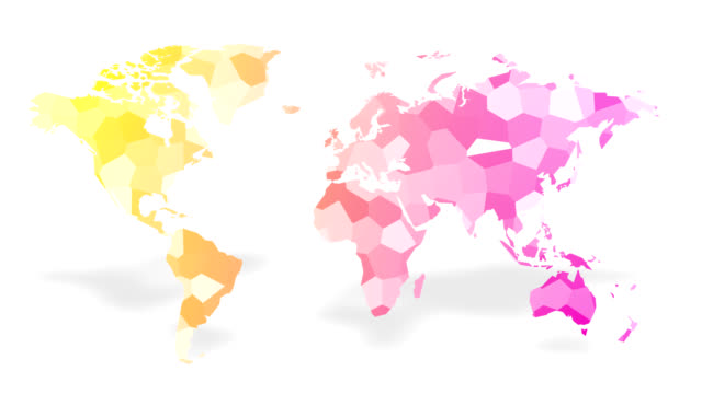world map made up of moving colored polygon