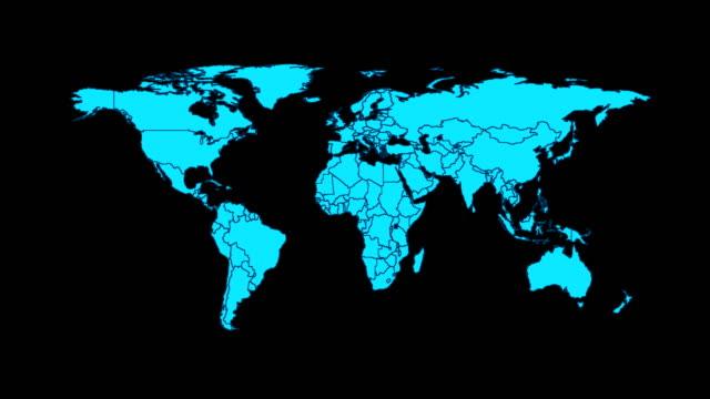 vídeos de stock, filmes e b-roll de conceito de rede mapa mundo - país área geográfica