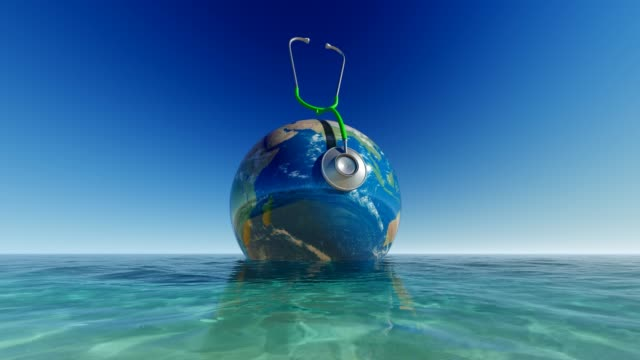 World Map On Sea With Blue Sky Background For World Medicine Day World Health Day, Day, Healthcare And Medicine, Medicine, Healthy Lifestyle world health day stock videos & royalty-free footage