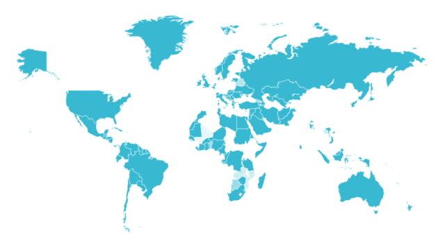 карта мира. анимация формы. графика движения. видео с разрешением 4k - континент географический объект стоковые видео и кадры b-roll