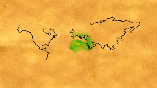 World Map Sketch watercolor on Old Paper Looping Animation video