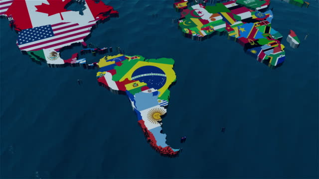 3d world map to south america with clouds - south america travel stock videos and b-roll footage