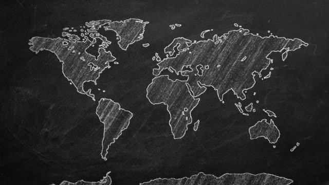 mappa del mondo - continente americano video stock e b–roll
