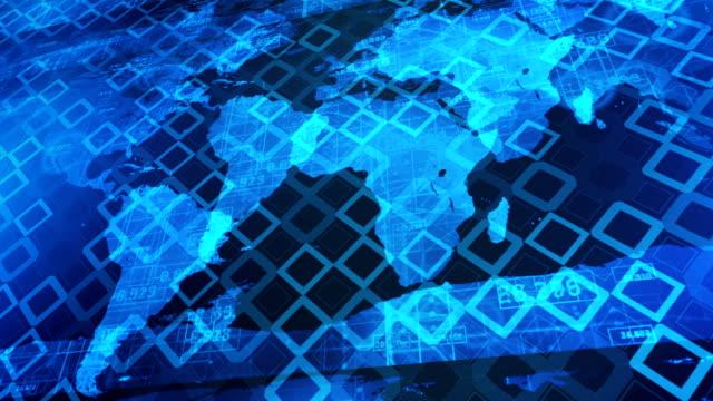 バイナリ コードの世界地図 - エレクトロニクス産業点の映像素材/bロール