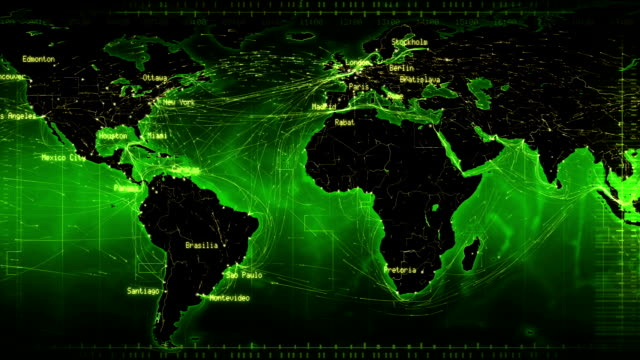 World map with connections and cities. Loopable. Green. video