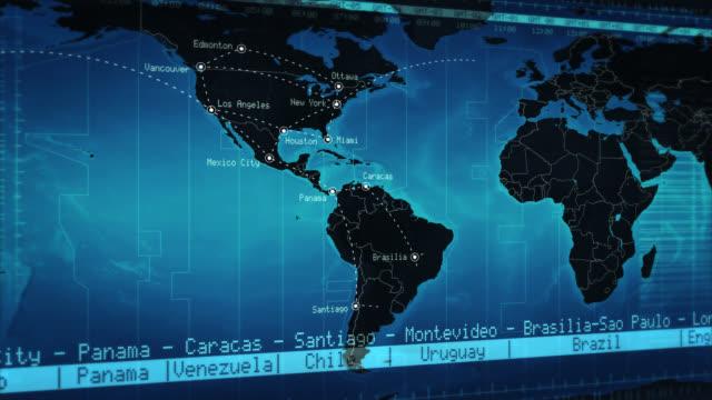 mapa świata z nazwy miasta połączenia i lokalizacji. blue - zachodnie pismo filmów i materiałów b-roll
