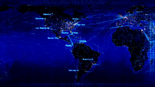 world map with connections and city lights loopable blue video