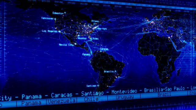 World map with connections and city lights. Loopable. Blue. Loop able world map with major cities names, countries and time zones. Aerial, maritime and ground routes. Blue. time zone stock videos & royalty-free footage