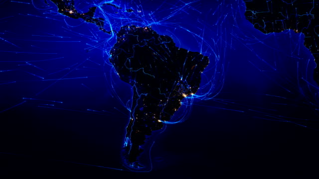 Video World map with connections. North and South America. Blue.