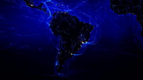 mappa del mondo con connessioni. nord e sud america. blu. - america latina video stock e b–roll