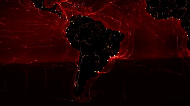 vídeos de stock, filmes e b-roll de mapa-múndi com conexões. do norte e américa do sul. - brazil map