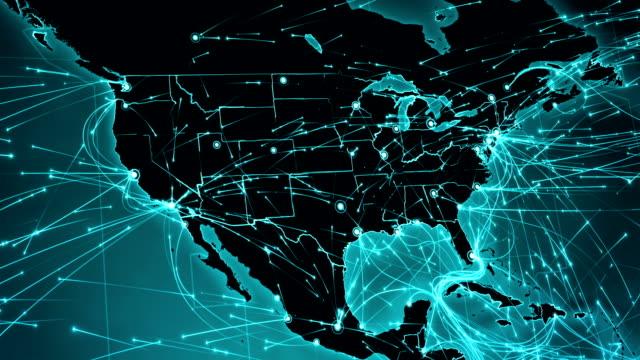 stockvideo's en b-roll-footage met kaart van de wereld met verbindingen. noord- en zuid-amerika. - roadmap