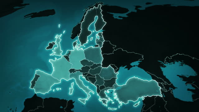 World map with European Airports, Roads and Railroads. Blue. video