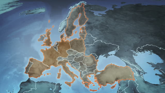 World map with European Airports, Roads and Railroads. Gray. video