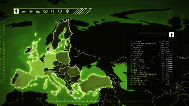 World map with European statistics: Population, Airports, Routes and Railroads.Green video