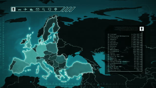 World map with European statistics: Population, Airports, Routes and Railroads.Cyan. video