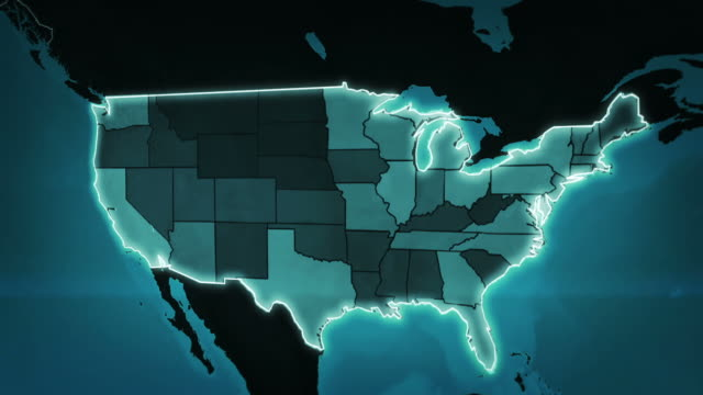 Video World map with US Airports, Interstate Routes and Railroads. Blue.