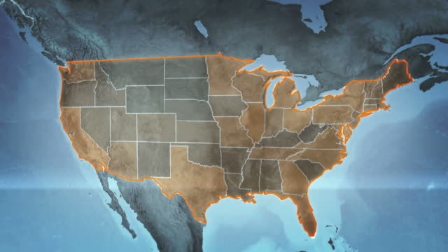 World map with US Airports, Roads and Railroads. Gray. Loopable.