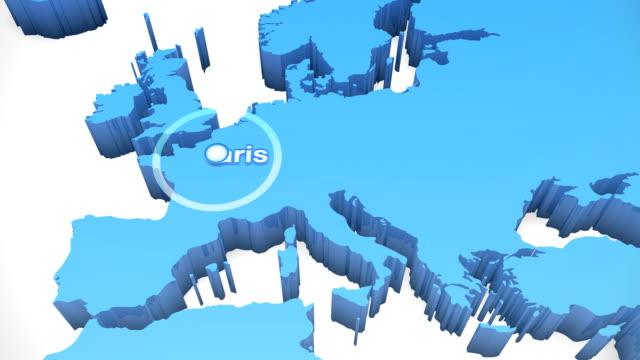 vidéos et rushes de monde carte 3d de zoom europe 1 - carte de france