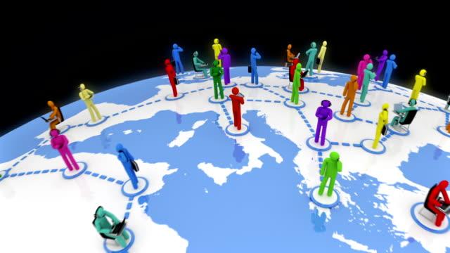 World Network. Asia-Europe. Multicolored. White background. video