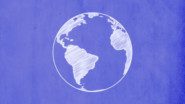 World on blueprint rotating video