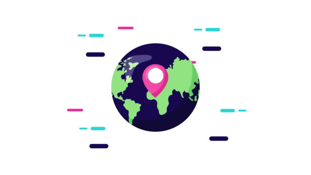world planet with pin location