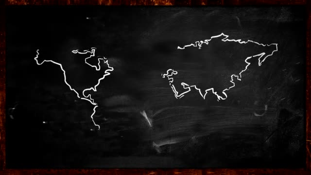 World sketch green painting on Blackboard Looping Animation video