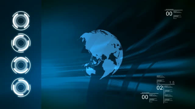 World technologic blue loop background. video