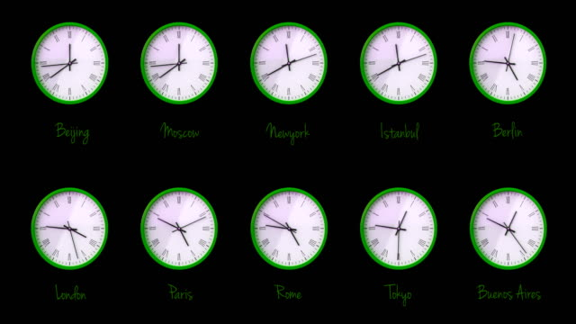World Time Zones, New York, London, Berlin, Moscow, Beijing, Tokyo, Sydney
