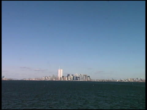 World Trade Center, Manhattan, NYC (Distant-Push) August 2001 from Boat video