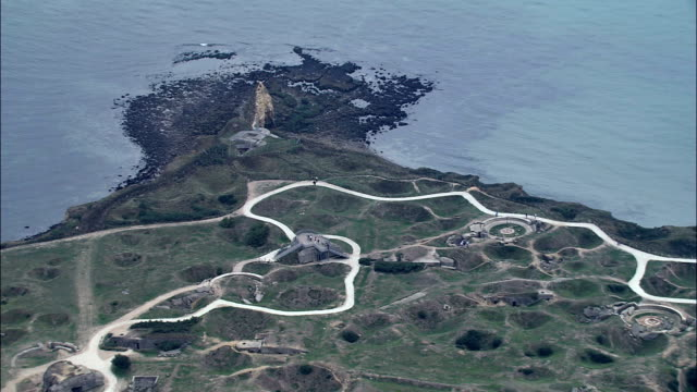 World War 2 Bunkers At Point Du Hoc  - Aerial View - Lower Normandy, France
