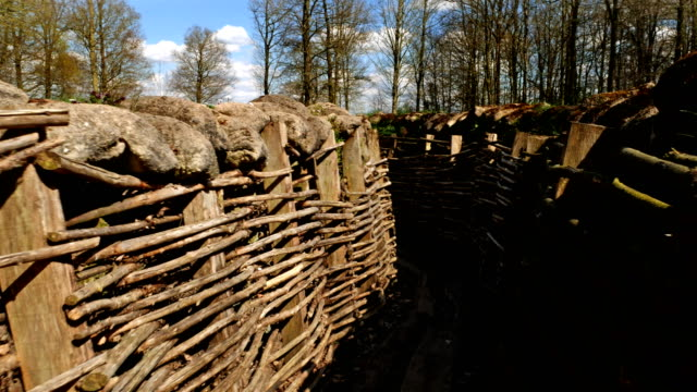vidéos et rushes de les champs de bataille de la première guerre mondiale du front occidental: tir de cardan de tranchées - première guerre mondiale