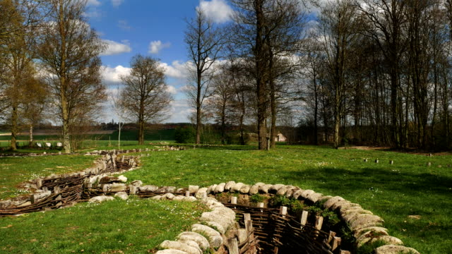 World War One battlefields of the Western Front : trenches gimbal shot video