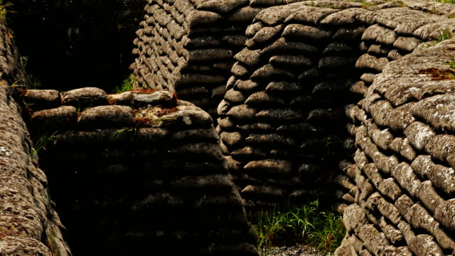 World war one on Western Front : remaining trench and dugout system video