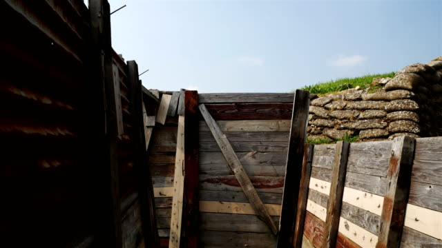 World war one on Western Front : trench warfare gimbal shot video