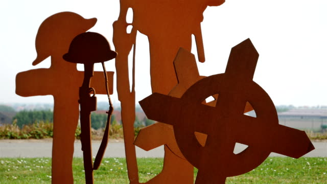 World War One  places of remembrance in Belgium : Scottish and South African Memorial, crooses and soldier silhouette close view video