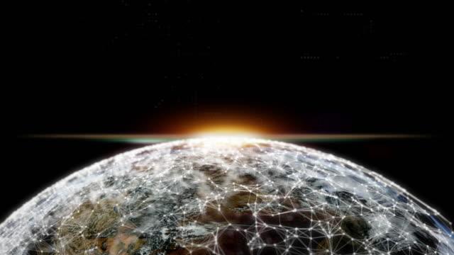 world wide connection, digital connection plexus around earth plannet - digital marketing stock videos & royalty-free footage