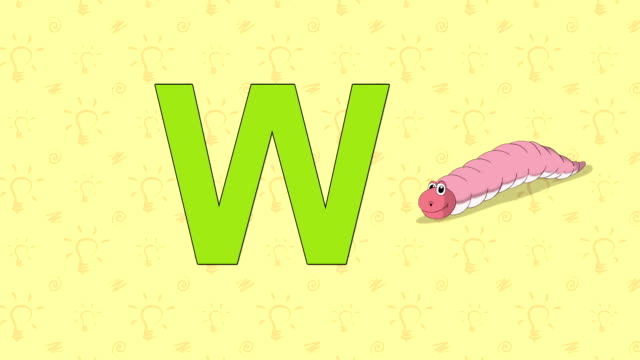 Worm. English ZOO Alphabet - letter W Animation English ZOO alphabet. Letter W and word Worm. 2D handmade animation. worm stock videos & royalty-free footage
