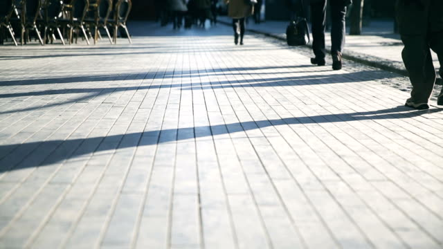 worm's eye view of pedestrians walking in london - london fashion stock videos and b-roll footage